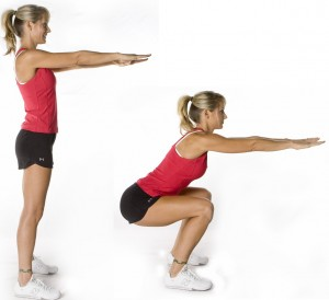 Girl doing squat exercise